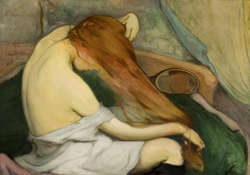 Femme peignant ses cheveux-Wladyslaw Slewinski