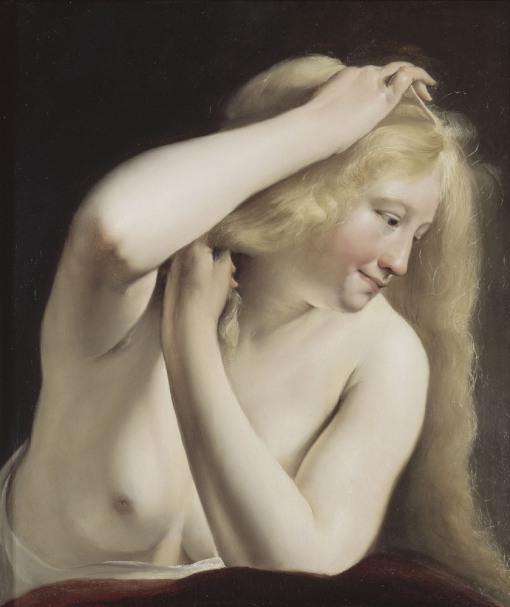 Jeune femme se coiffant-Salomon de Bray