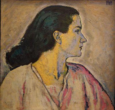 Koloman Moser. Portrait de femme de profil, c. 1910. Huile sur toile.